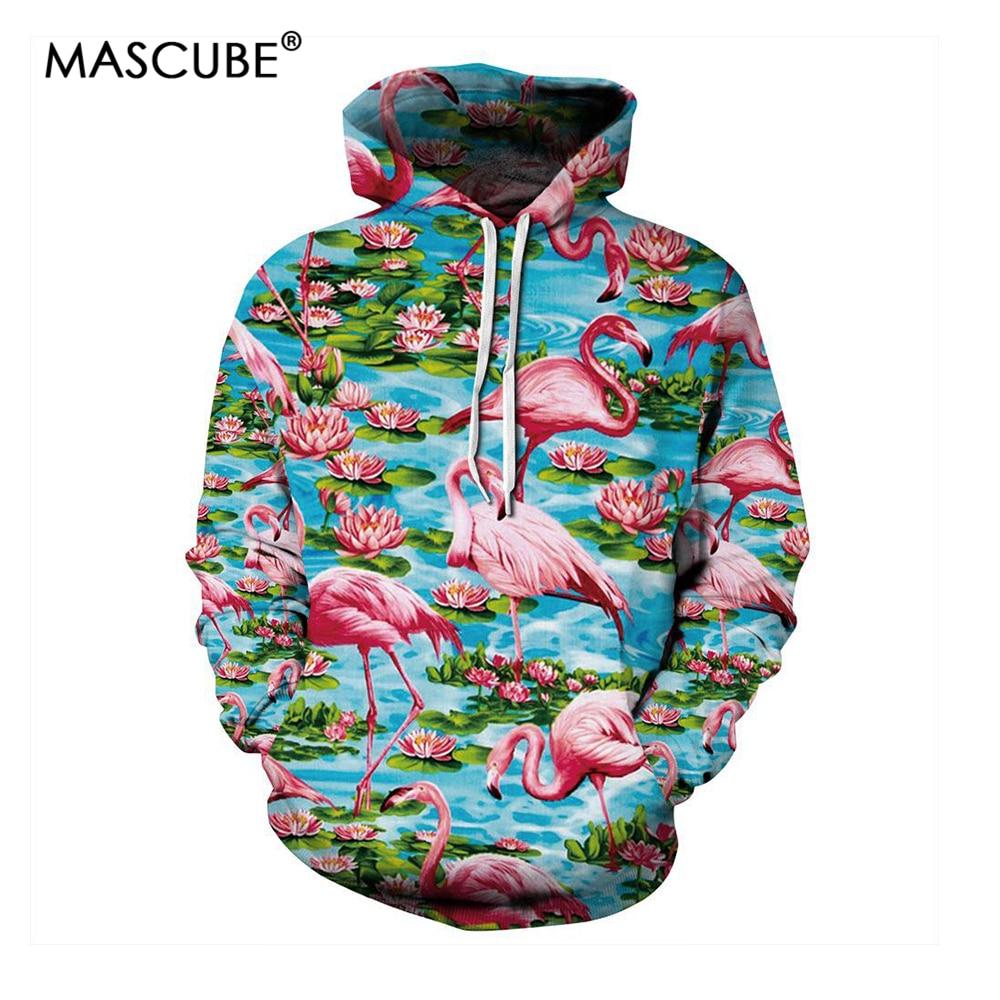 MASCUBE New Men Women Hoodie Animal Pink Flamingos Lotus Lake Printed Hooded Sweatshirts Hip Hop Streetwear Hoodies Pullover