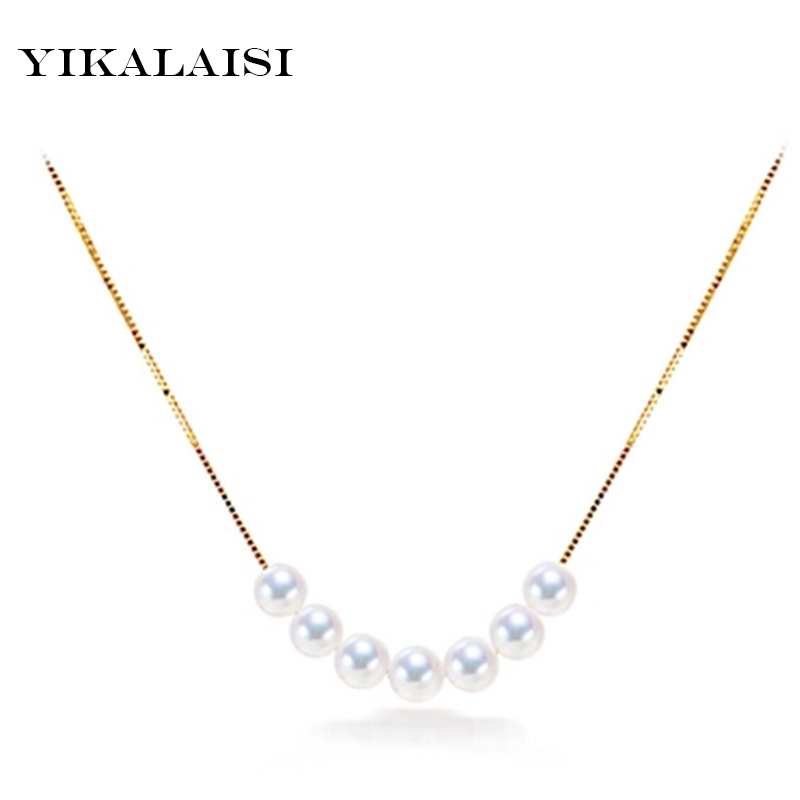 YIKALAISI 2017 Natural Pearl Necklace Pearl Jewelry  Circle Freshwater Pearl Pendants 925 Sterling Silver Jewelry For Women GiftYIKALAISI 2017 Natural Pearl Necklace Pearl Jewelry  Circle Freshwater Pearl Pendants 925 Sterling Silver Jewelry For Women Gift