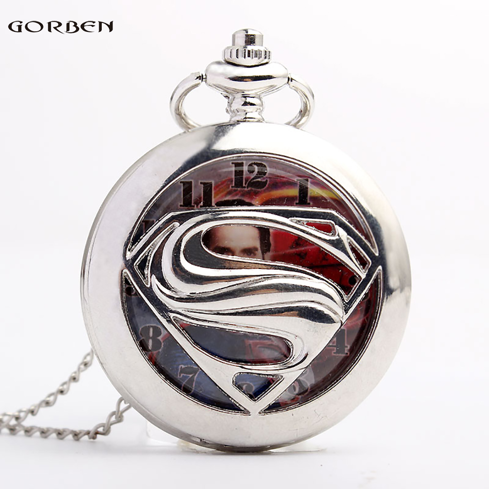 New Fashion Silver Arabic Numbers Superman Quartz Pocket Watch Men Women Necklace Pendant Chain Lady Men Gift Reloj De Bolsillo