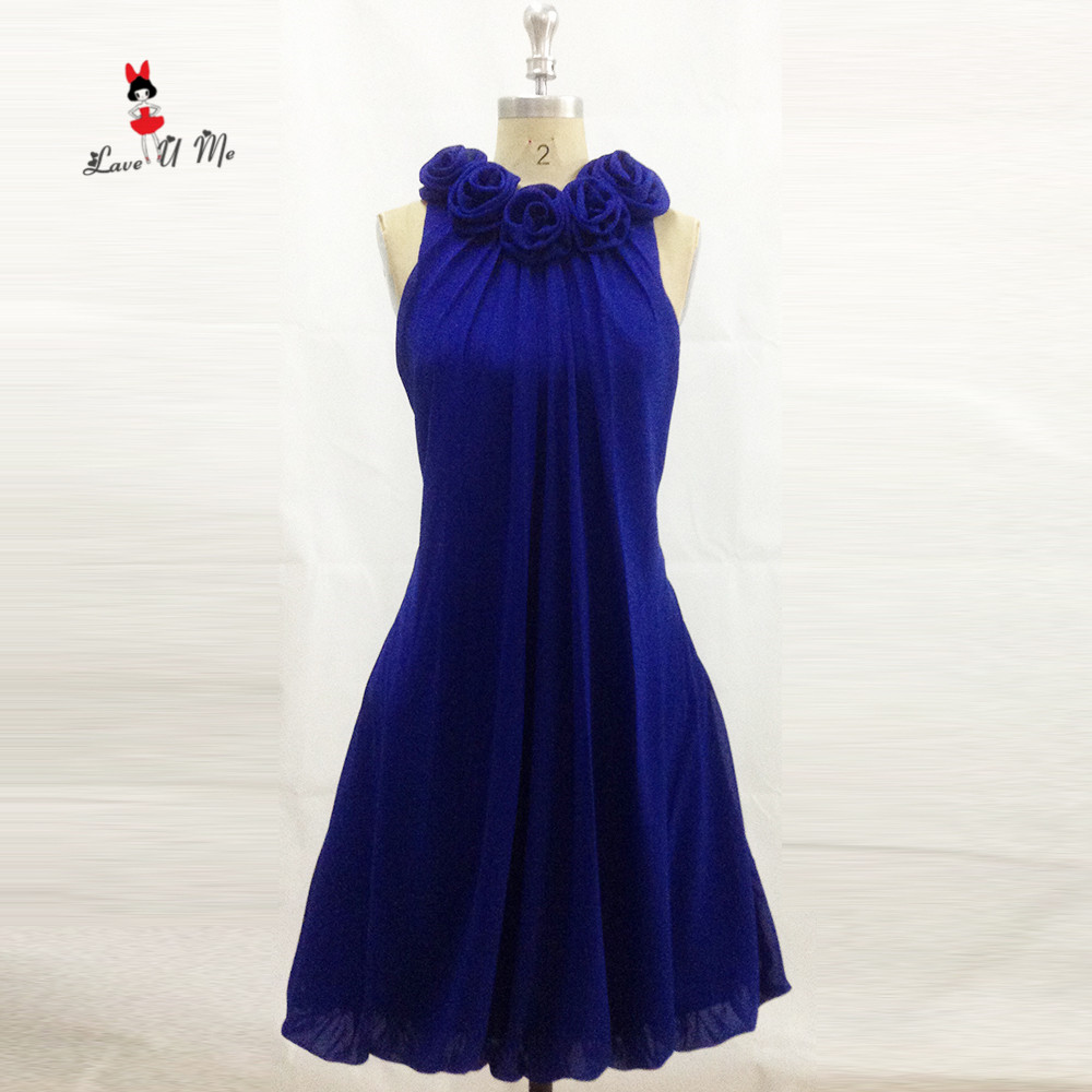 Royal Blue Wedding Party Dress 2017 Flowers Custom Made Short Bridesmaid Dresses Flowers Tank Fitted Robe demoiselle d'honneur