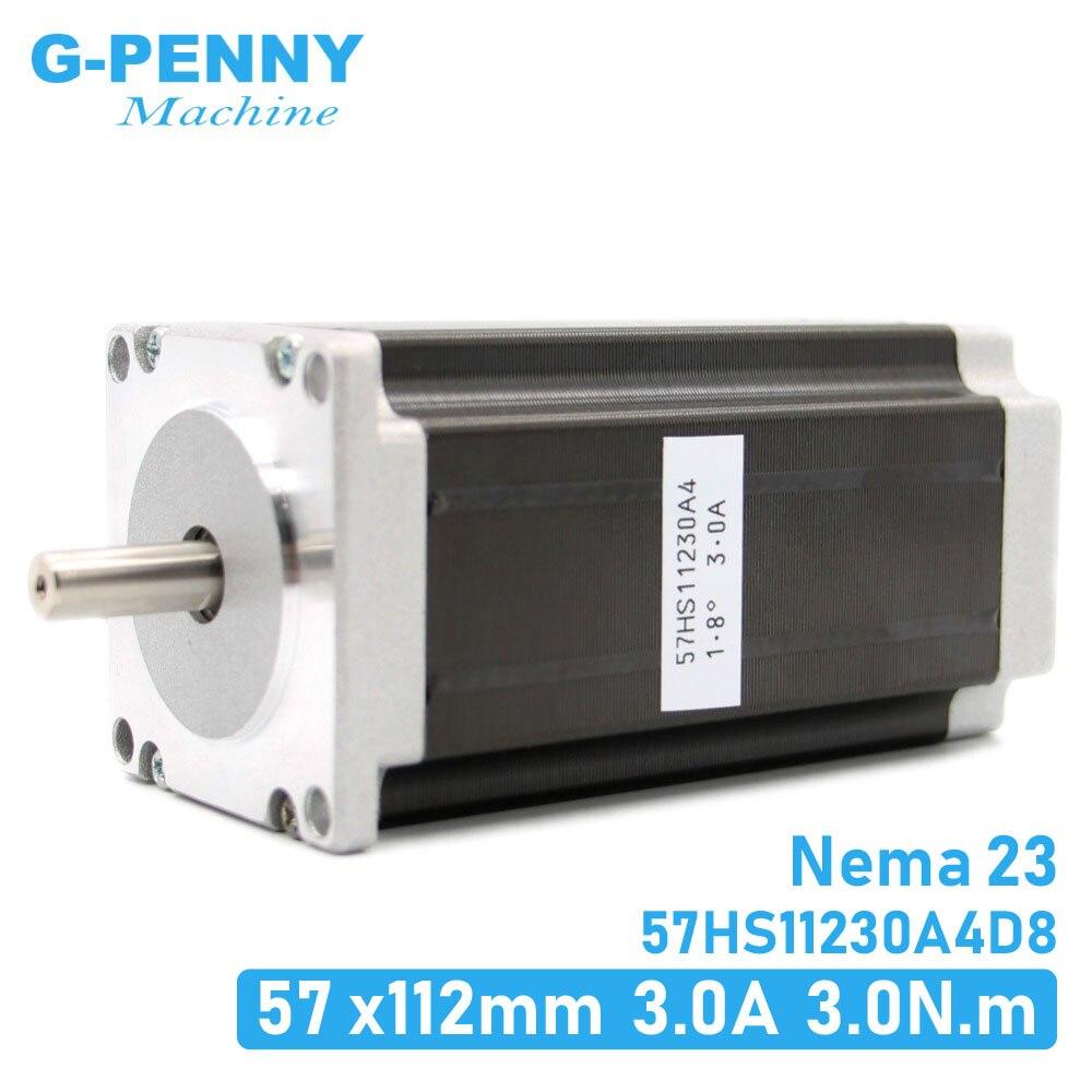 Шаговый двигатель NEMA23, 57x112 мм, 4-выводной, 3 А, 3 Нм, мотор Nema 23, 112 мм, унций/дюйм, для 3D-принтера, для гравировально-фрезерного станка с ЧПУ