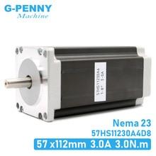 Шаговый двигатель NEMA23, 57x112 мм, 4 выводной, 3 А, 3 Нм, мотор Nema 23, 112 мм, унций/дюйм, для 3D принтера, для гравировально фрезерного станка с ЧПУ