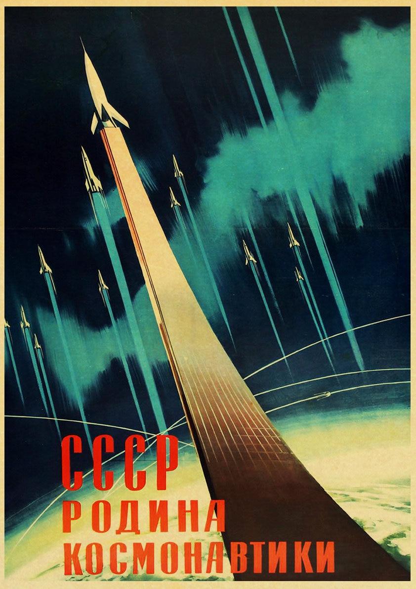 HTB1jgrheEGF3KVjSZFmq6zqPXXaG Vintage Russian Propaganda Poster The Space Race Retro USSR CCCP Posters and Prints Kraft Paper Wall Art Home Room Decor