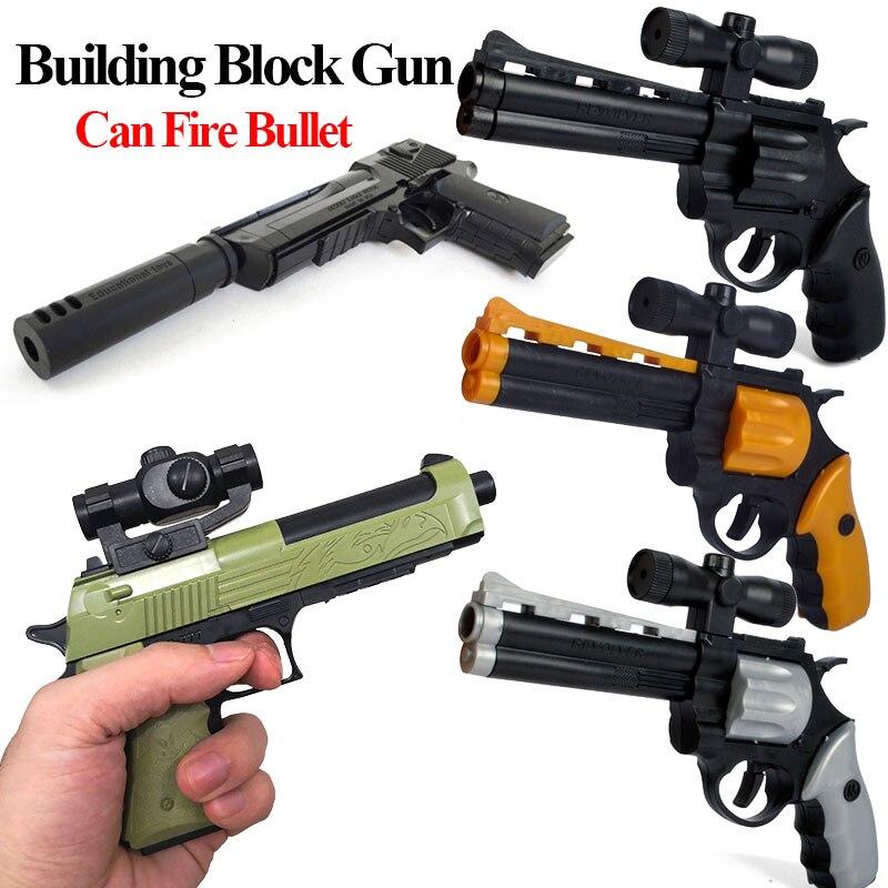 1 2: Can Fire Bullet DIY строительные блоки игрушечный пистолет пустынный Орел сборка