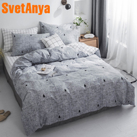 Svetanya Gray Bedding Set 100% Cotton Sheet Pillowcase Duvet Covet Sets EU US JAPAN AU RU size