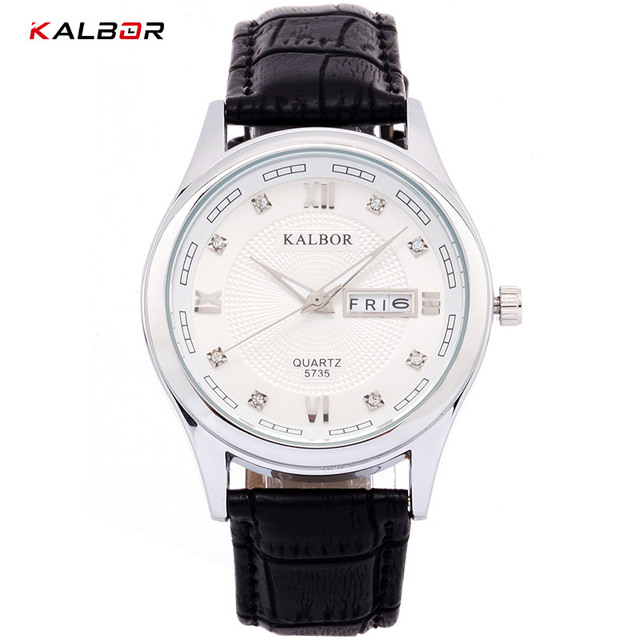 KALBOR 2018 Watches Men Sport PU Leather Auto Date Week Display Waterproof Black