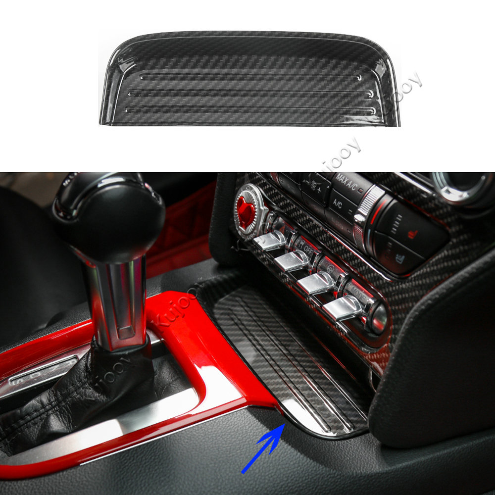 ABS Carbon Fiber Grain Storage Slot Cover Decor Trim Before Gear Shift Panel Fit For Ford Mustang 2015+ Car Styling Decor car carbon fiber color abs interior mouldings inner gear shift covers panel trim decal for honda civic 2006 2011 mt car styling