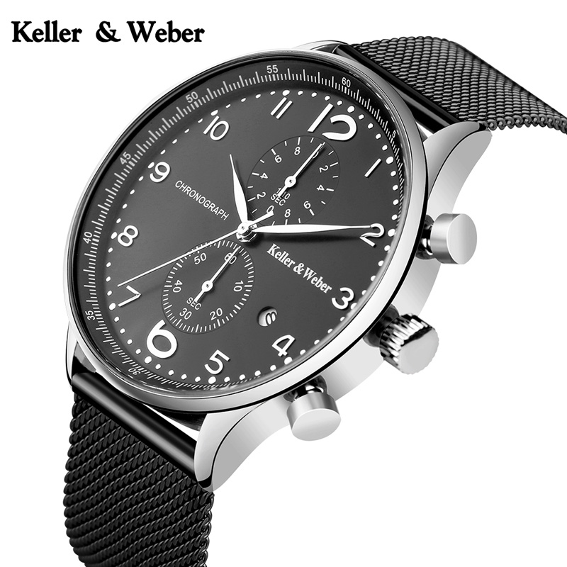Keller & Weber Original Watch Men's Chronograph 30ATM Sports Full Steel Mesh Band Formal Business Dress Date Clock Reloj Hombre