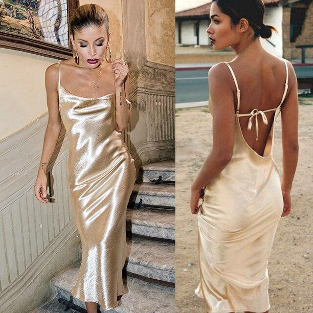 Spaghetti Strap Sexy Party Dress Women Bodycon Maxi Long Satin Club Dress Silky Off Shoulder Backless Skinny Golden Dress