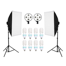 ZUOCHEN 8 pièces lampes E27 135W ampoules photographie Kit déclairage 2 pièces Softbox Lightbox + support de lumière pour diffuseur de Studio Photo