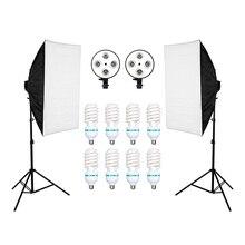 ZUOCHEN 8PCS โคมไฟ E27 135W การถ่ายภาพชุด 2PCS Softbox Lightbox + สำหรับ Photo สตูดิโอ Diffuser