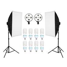 ZUOCHEN 8PCS Lamps E27 135W Bulbs Photography Lighting Kit 2PCS Softbox Lightbox+Light Stand For Photo Studio Diffuser