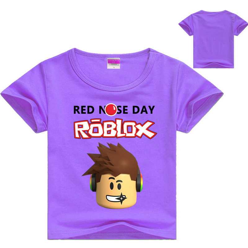 YLS 2-16Years Kids Tops Girls ROBLOX T Shirt for Boys RED NOSE DAY Tee Shirt Fille Kids T-shirt Kids Clothes Baby Girls Tshirt