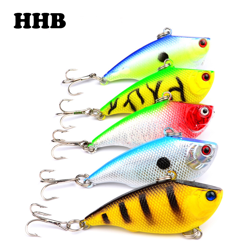 1PCS VIB Fishing Lure Bass 5.5cm/7.5g Plastic Hard Bait Treble Hook Fishing Tackle 5 Colors X-12 wldslure 1pc 54g minnow sea fishing crankbait bass hard bait tuna lures wobbler trolling lure treble hook