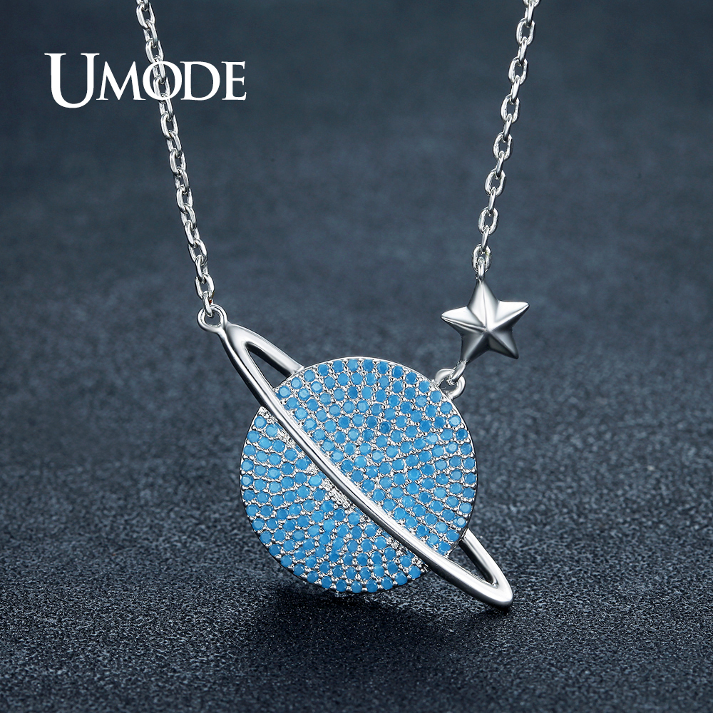 UMODE Fashion Round Lake Blue Crystal Planet Star Pendant Necklace for Women White Gold Color Saturn Jewelry Accessories AUN0244