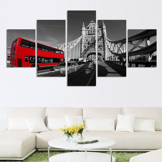 5 Piece Canvas Painting Print On Canvas Wall Art London Bus Landscape  Picture Home Decor For