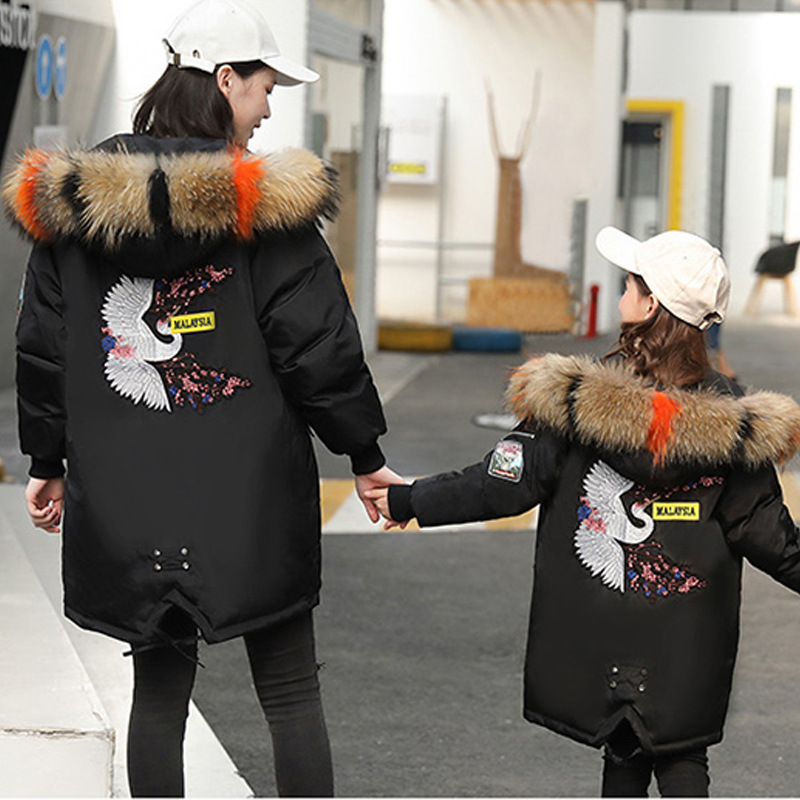Mother And Daughter Clothes Hoodies 2018 New Winter Clothes Girl Down Coat Mom and Me Family Matching Outfits