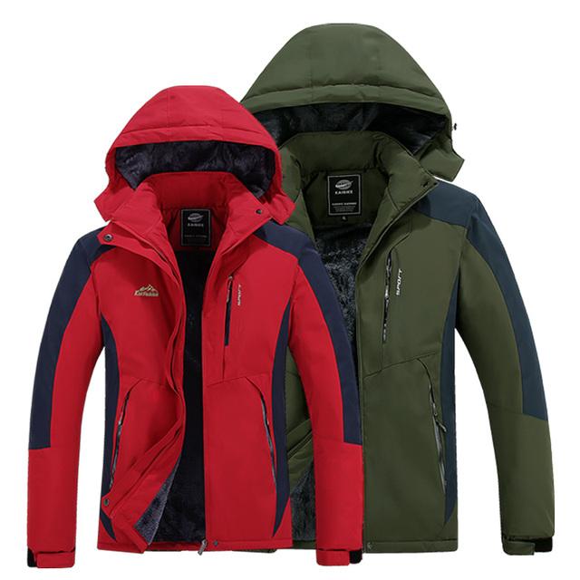 Jaqueta de inverno masculino/feminino mais grossa de veludo casaco quente à prova de vento jaqueta impermeável e respirável à prova de chuva do revestimento do revestimento tamanho L-5XL