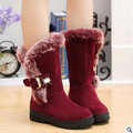 2017 new winter warm snow boots fashion platform fur cotton shoes flat heels knee high boots women leather boots