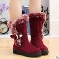 2017 novo inverno quente botas de neve plataforma de moda sapatos de algodão pele saltos lisos na altura do joelho botas de cano alto botas de couro das mulheres