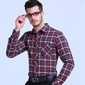 2017 Top quality 100% COTTON boss men girds social shirts long casual dress shirt business office slim fit camisa masculina
