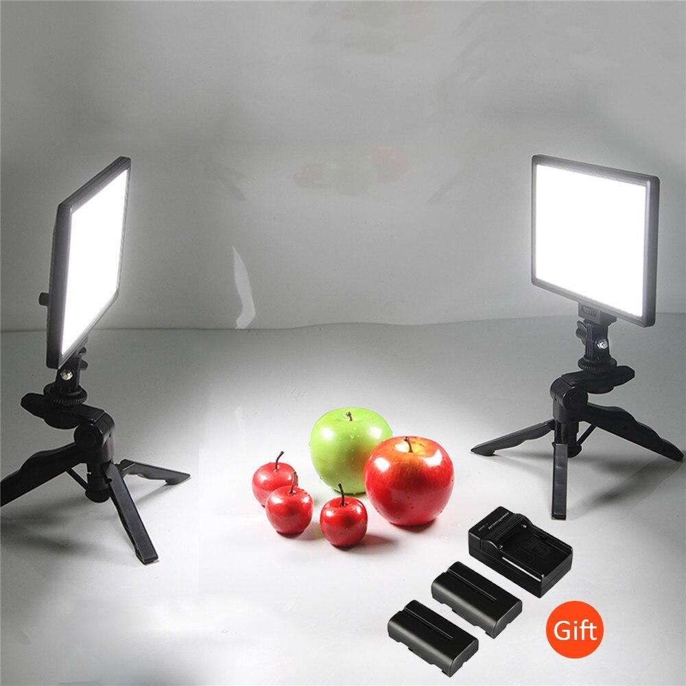 VILTROX L116T Photo Studio Set-2x Bi-Couleur Dimmable DSLR LED Vidéo lumière + 2x Mini Trépied + 2x Batterie w/Chargeur pour photographie
