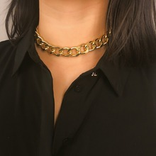 SHIXIN Punk Exaggerated Heavy Metal Big Thick Chain Choker Necklace