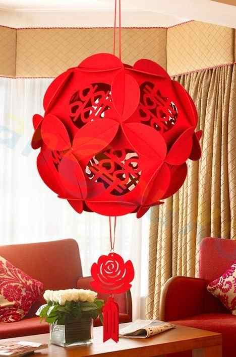 Doppel XI Hortensien rot laterne Anhänger room bar hotel party dekoration blume ornament Hochzeit Venue Decor Festival Supplies