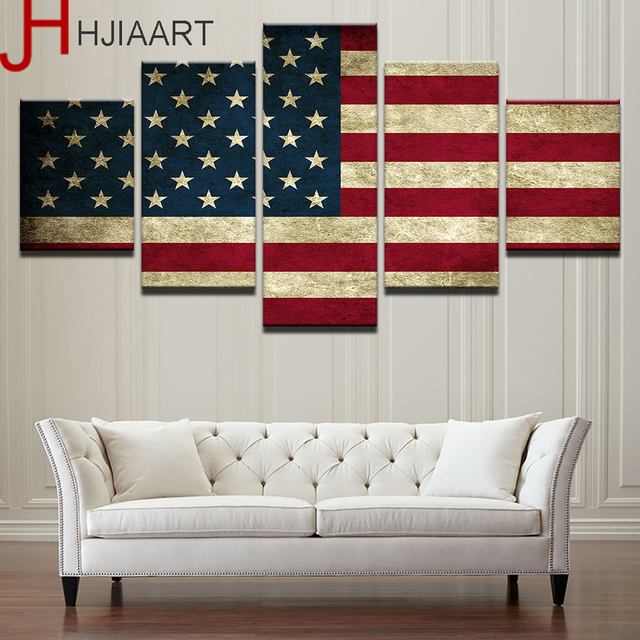 Drop Shipping 5 Panels America American Flag Painting For Living Room  Framed Wall Art Picture Gift