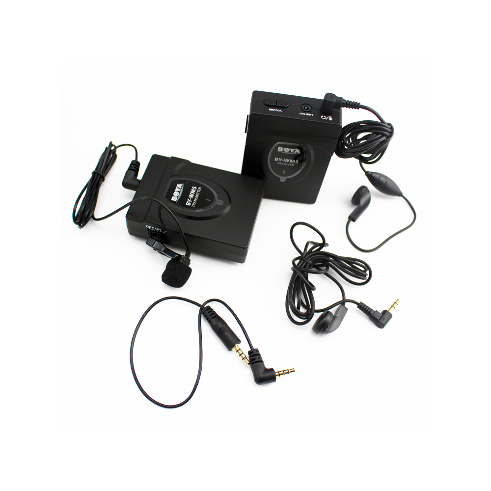 BOYA BY-WM5 Pro Wireless Lavalier Lapel Microphone System for DSLR Camera Camcorders Audio Recorder