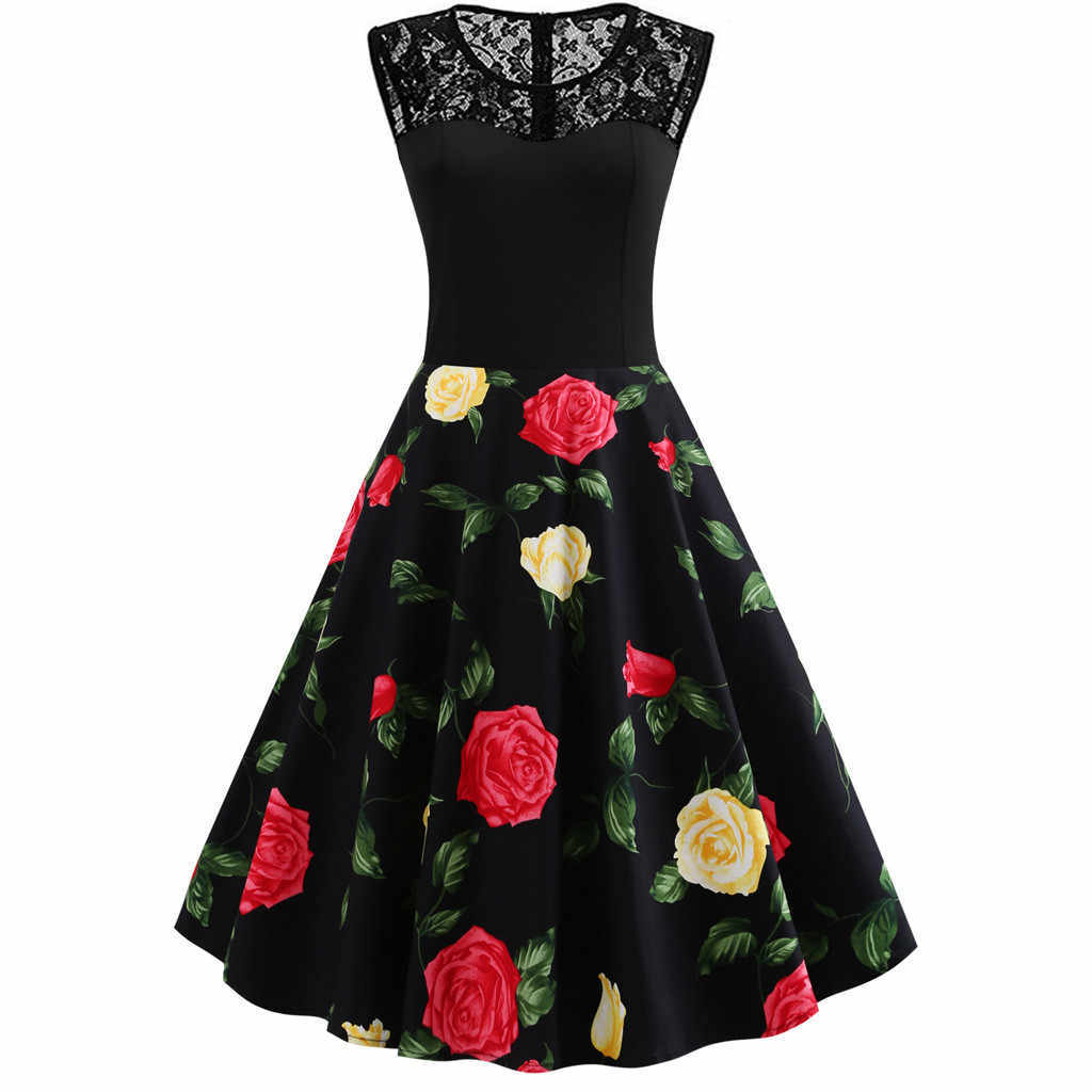 Vintage Flower Print Mini Dress For Women Sexy Sleevelss O Neck Lace Patchwork Long Dresses Swing Draped Vestidos Plus Size 4XL