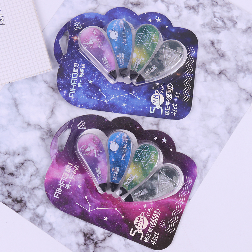 4PCS/1Set Kawaii Starry Sky Type Corrector Correction Tape Diary Stationery Material Escolar Office School Supply