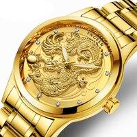 Творческий Дракон Роскошные модные сталь ремешок часы для мужчин кварцевые часы повседневное Мужской Спорт Бизнес наручные часы...