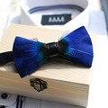 2017 Men Handmade Blue Feather Bow Tie Luxury Wedding Evening Party Bridegroom Groomsman Tie Wood Box Packing ML056