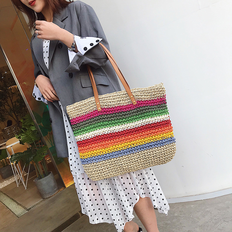 Image 3 - Women Rainbow color Handbag Beach Bag Rattan Woven Handmade Knitted Straw Large Capacity Tote Leather Women Shoulder Bag BohemiaShoulder Bags   -
