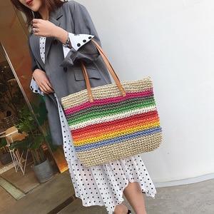 Image 3 - Women Rainbow color Handbag Beach Bag Rattan Woven Handmade Knitted Straw Large Capacity Tote Leather Women Shoulder Bag Bohemia