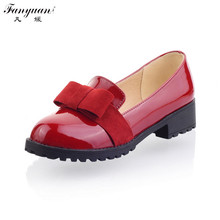2016 New Women Solid Sweet Butterfly-knot Shallow Pumps Round Toes Big Size Med Heels
