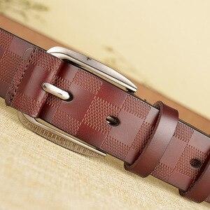 Image 5 - 110 125x3.8cm Classic lattice leather genuine leather belt Mens luxury man brand cowboy belts for men jeans ceinture homme C217