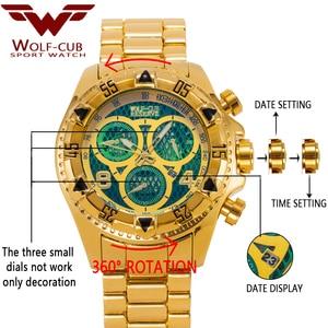 Image 3 - Оригинальные мужские часы с золотым календарем, украшенные большим циферблатом, 6 контактная спиральная Корона, спортивные часы США, мужские часы с волком кубом