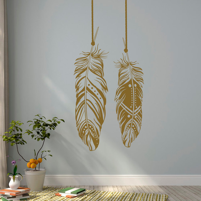 Feathers Wall Decals Tribal Art Boho Bohemian Decor Living Room Bedroom Dorm Feather Dreamcatcher