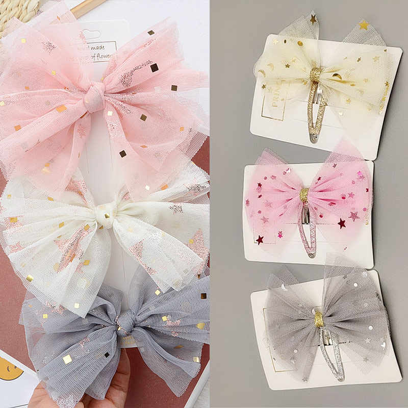 Unique Party Chiffon 1PC Exquesite Lace Handmade High Quality 6 Colors Grenadine Kids Star Girls Hair Clips Bowknot Children