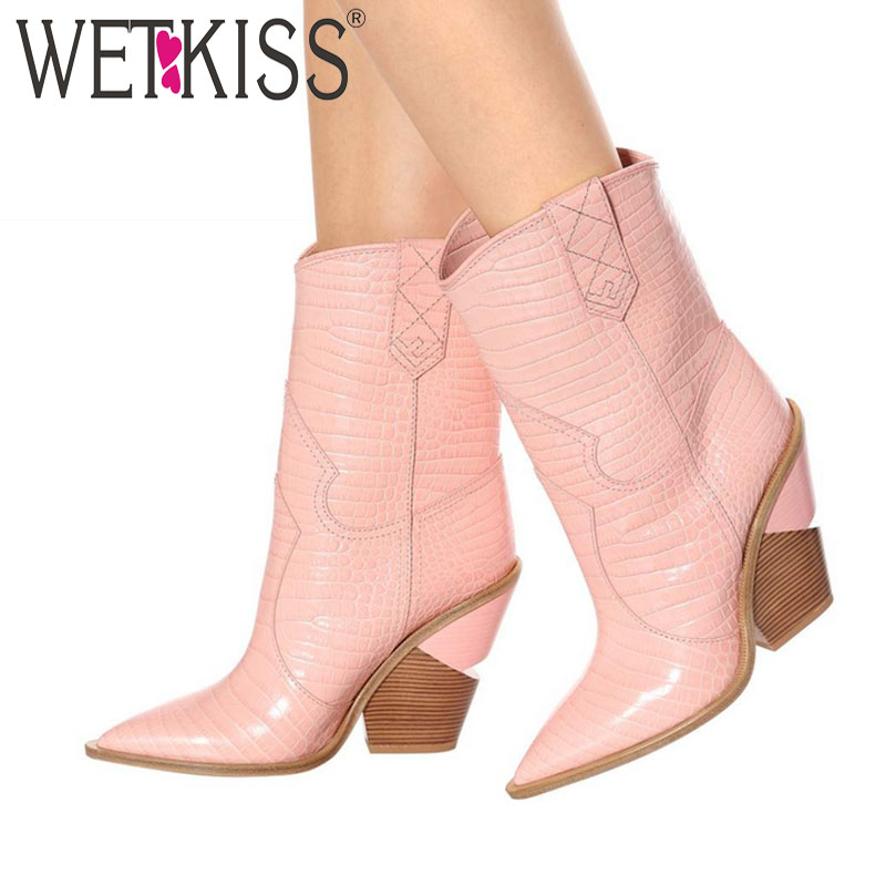 WETKIS New Fashion Embossed Women Ankle Boots Unusual Thick Wedges Footwear Western Female Boots Cowboy Boots