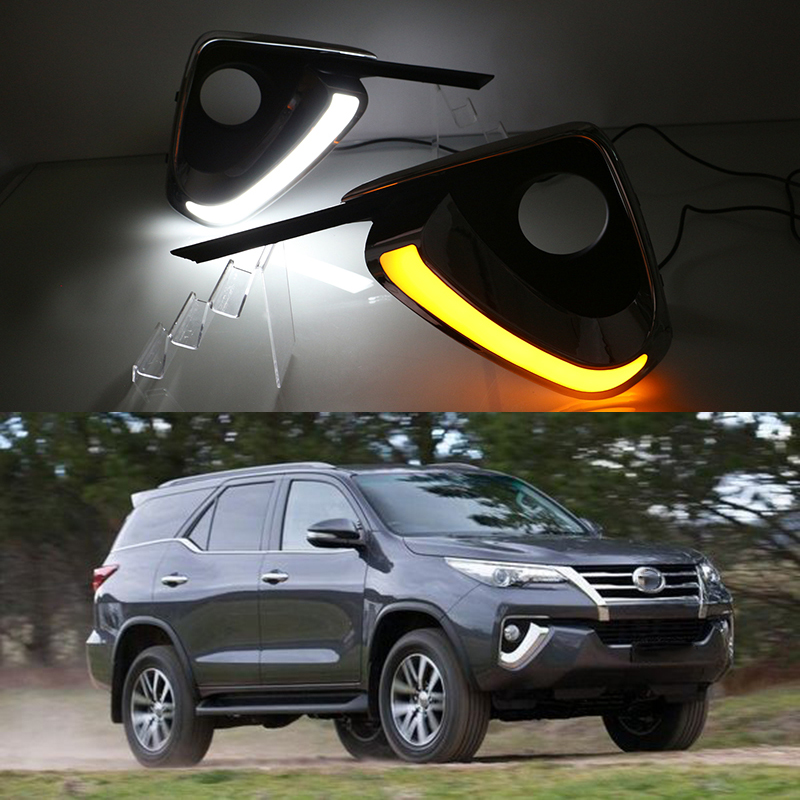 Car Flashing For Toyota Fortuner 2015 2016 Drl Led Daytime Running Light Daylight Fog Lamp Cover