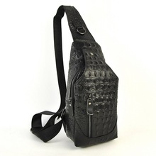 Men Women Genuine Real Leather Shoulder Chest Bag Cross Body Messenger Casual Travel Bicycle Crocodile Alligator Daily