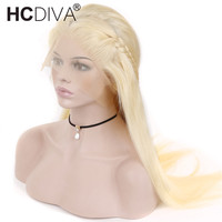 Lace Front Human Hair Wigs 613 Blonde Straight Lace Wigs Brazilian Remy Human Hair Pre plucked 150% Lace Front Wig For Women