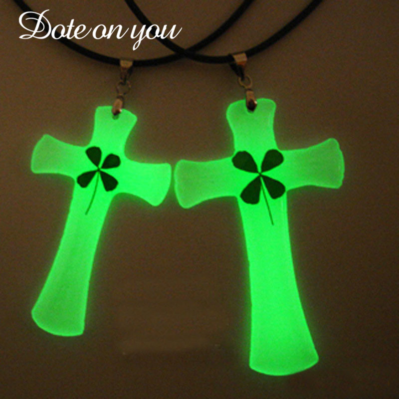 Glowing Necklace Cross Necklace Stainless Steel Necklace Cross GLOW In The DARK Night Fluorescent Christmas Gifts Men Women Girl