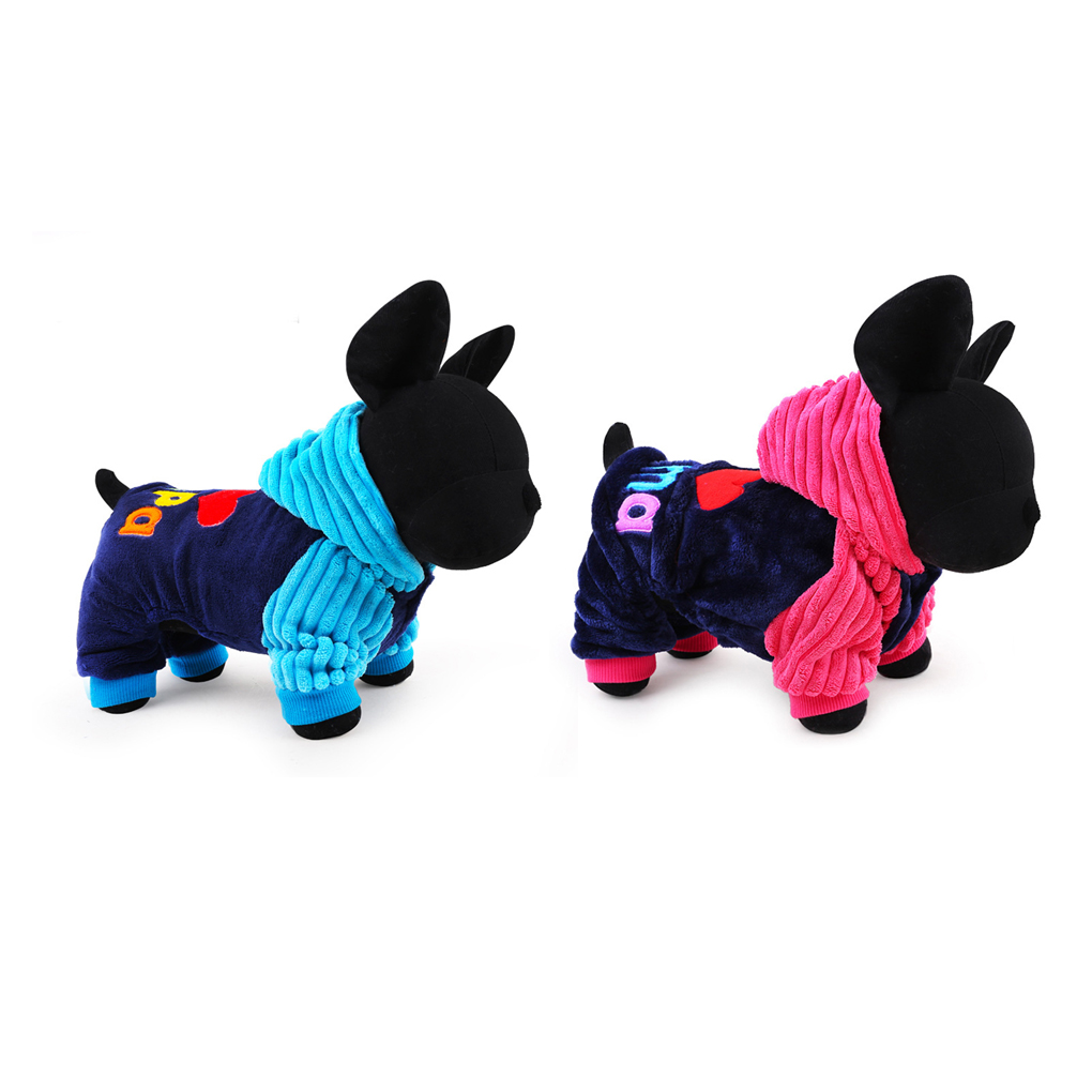 I Love Papa And Mama Winter Dog Clothes Pet Clothing Small Big Dog Hooded Four Feet Coats Jackets