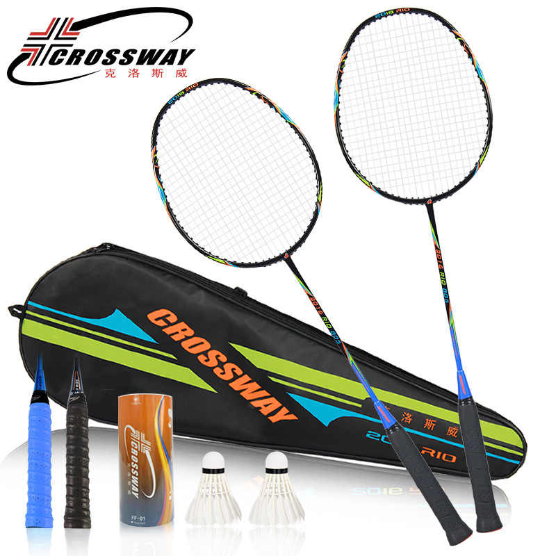 CROSSWAY 2Pcs Best Championships Badminton Rackets Doubles Carbon Lightest Shuttlecock Racquets Set Sports Rio Olympics Memorial