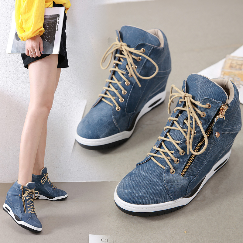 Casual Shoes Women Platform Sneakers Patchwork Fashion Denim Zapatos De Mujer Increased Chaussures Femme Ladies Chunky Footware