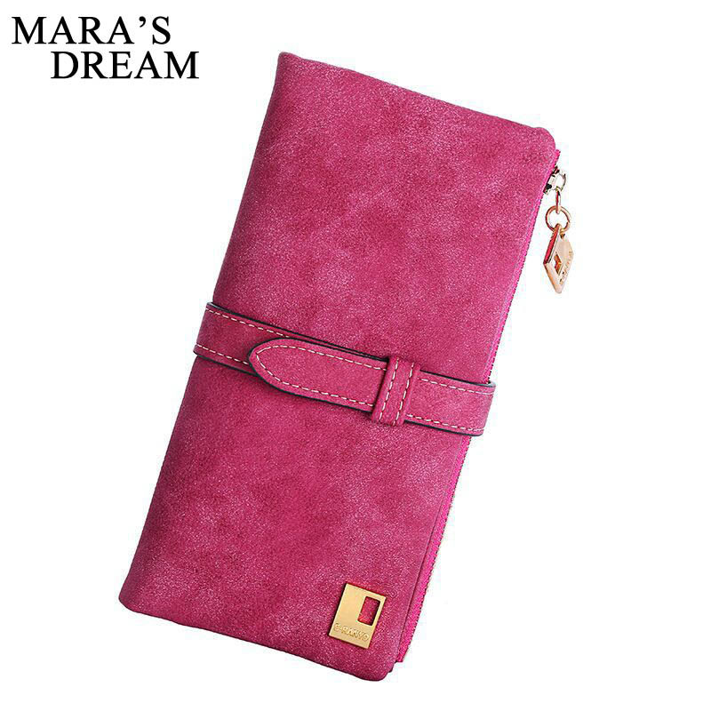 Mara's Dream 2019 Solid Drawstring Nubuck Leather Zipper Long Women Wallet Phone Bag Wallets Designer Purse Card Holder Clutch